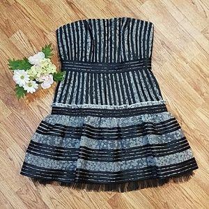 Black BCBG Lace Tulle Layered Corset Dress Size 8